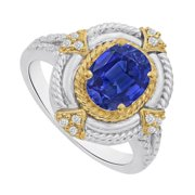 UBUNR84225TT149X7CZS Sapphire CZ Split Shank Fancy Ring in Two Tone Gold, 12 Stones