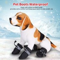 EECOO Dog Boots,4 Pcs/set No Slip Pet Dog Shoes Boots Waterproof Dog Socks Soft Cotton Padded,Pet Shoes