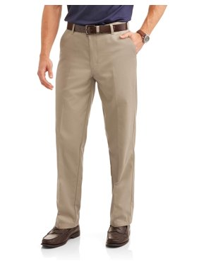 George Big Men's Wrinkle Resistant Flat Front 100% Cotton Twill Pant with Scotchgard