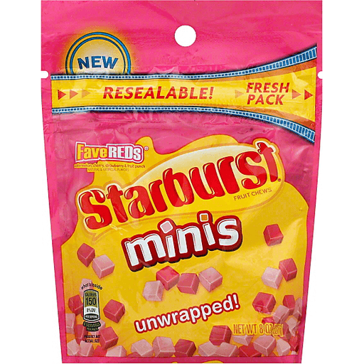 Starburst, Minis FaveREDS Unwrapped Fruit Chews Candy, 8 Oz