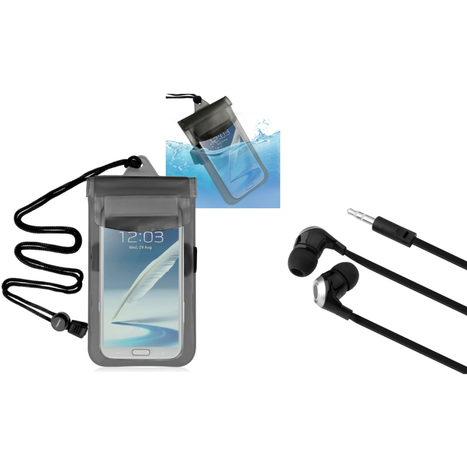 Insten Clear Black Waterproof Bag Case+Hands-free Headset For Apple iPod Touch iPhone...