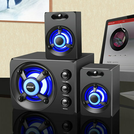 USB 2.1 Desktop Computer Speaker with Colorful/Blue LED Light Music Player Subwoofer Bass Audio For PC Laptop