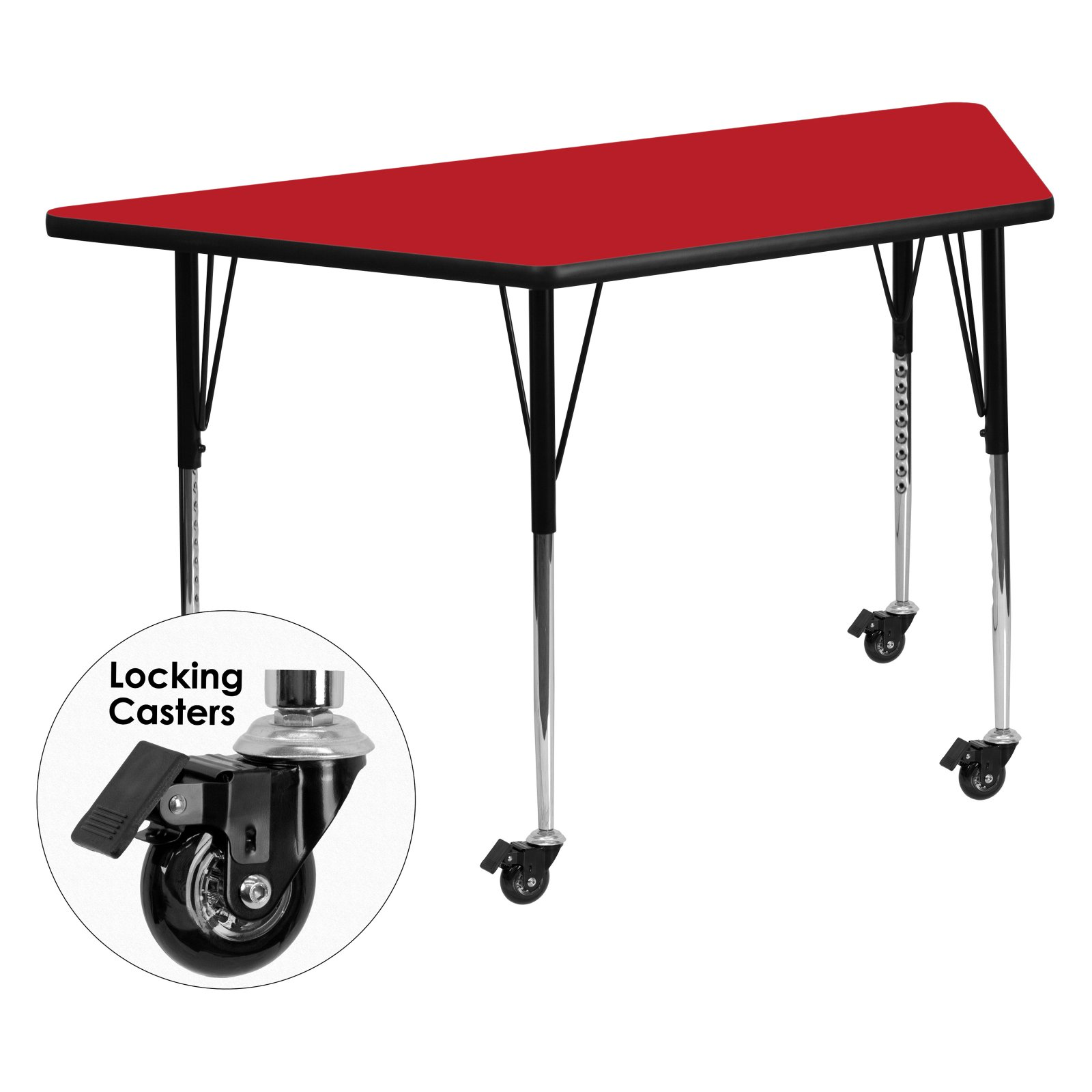 Flash Furniture Mobile 24''W x 48''L Trapezoid Activity Table with 1.25'' Thick High Pressure Red Laminate Top and Standard Height Adjustable Legs