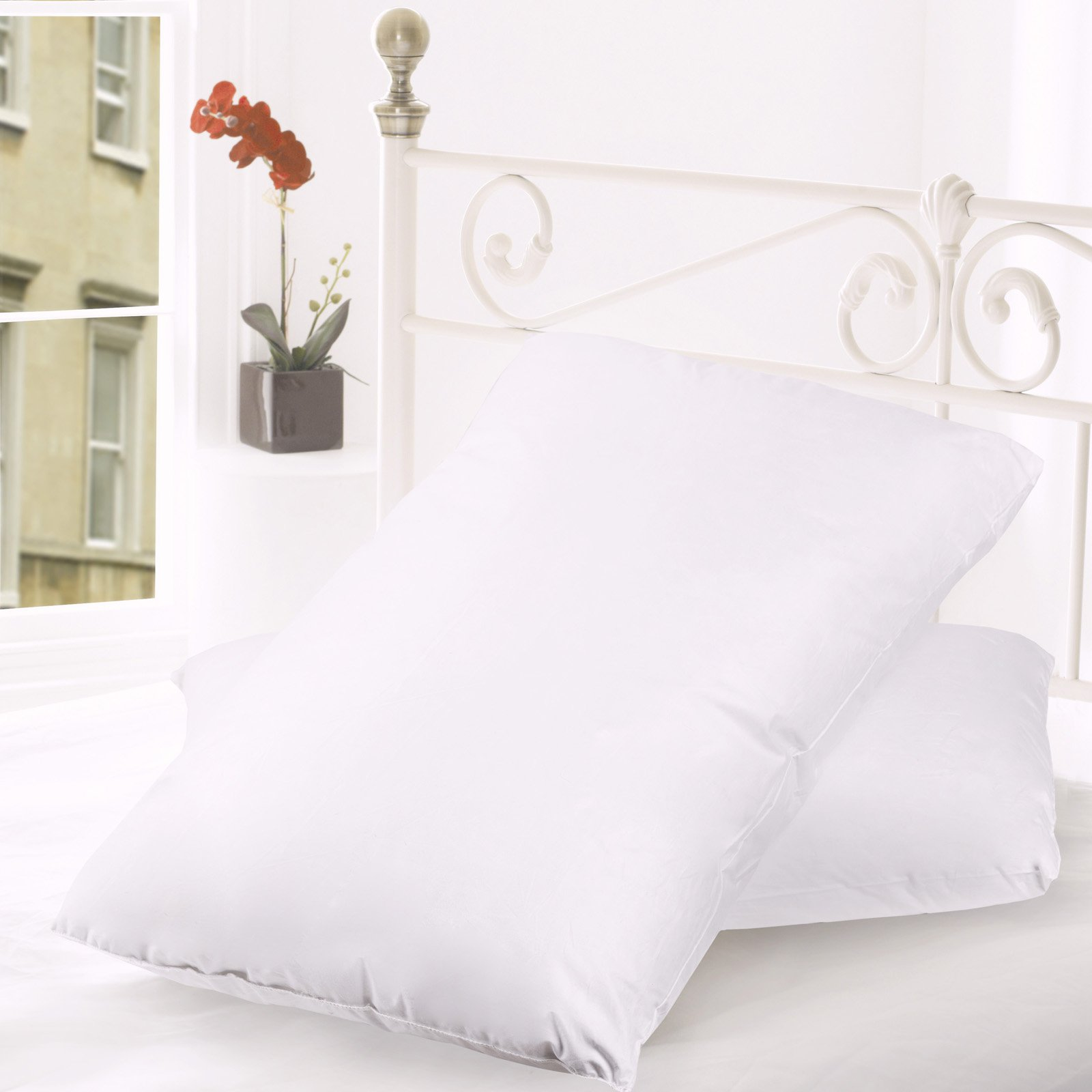 Down and Feather Cotton Bed Pillow - Set of 2 by Sweet Home Collection