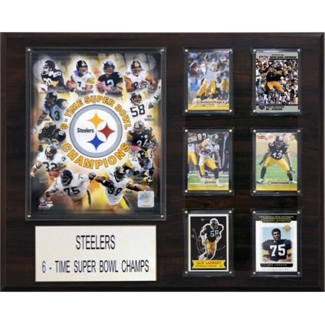 C & I Collectables 1620PITT6 NFL Pittsburgh Steelers 6 Time Champions Plaque