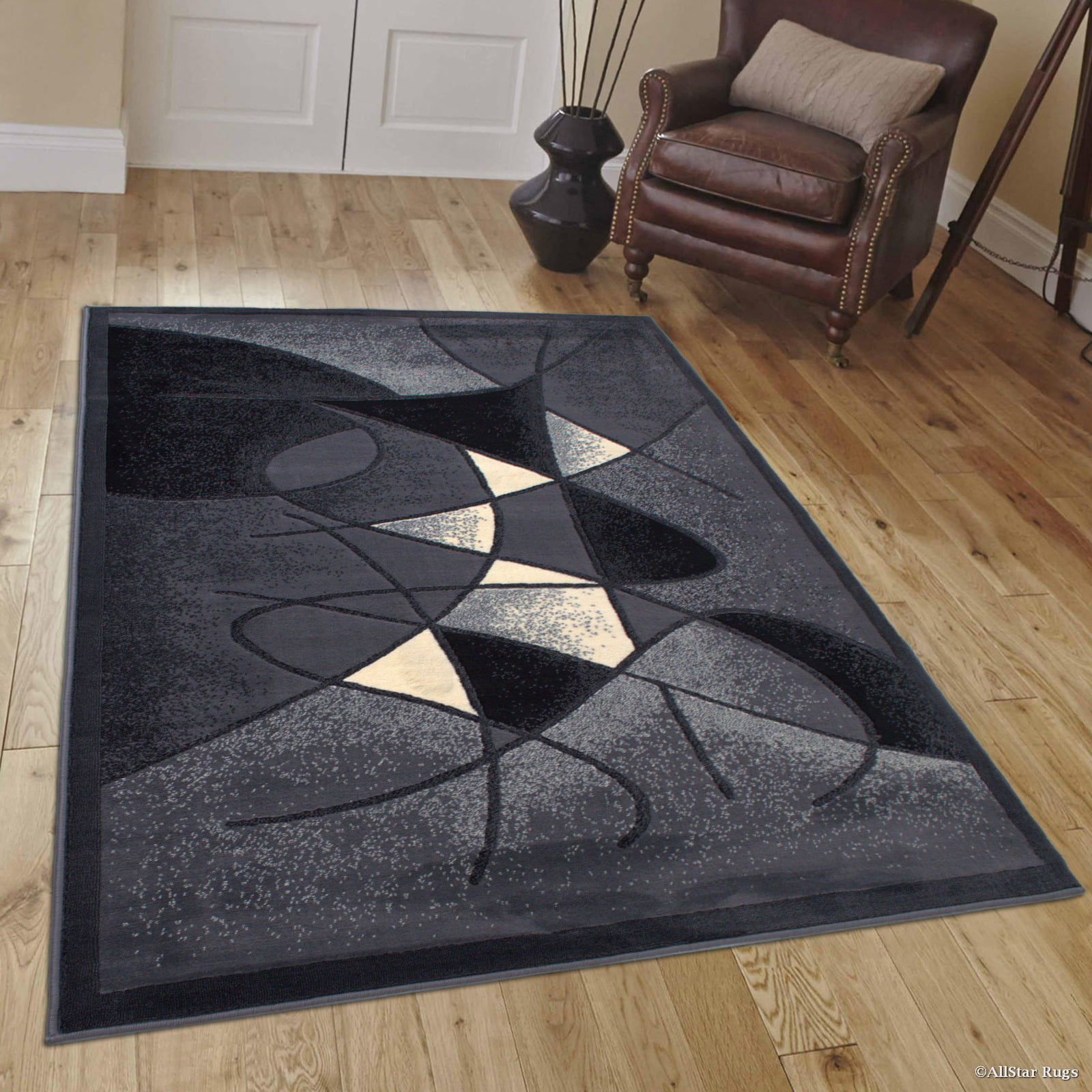"Allstar Grey Abstract Modern Area Carpet Rug (7' 10"" x 10' 2"") by"