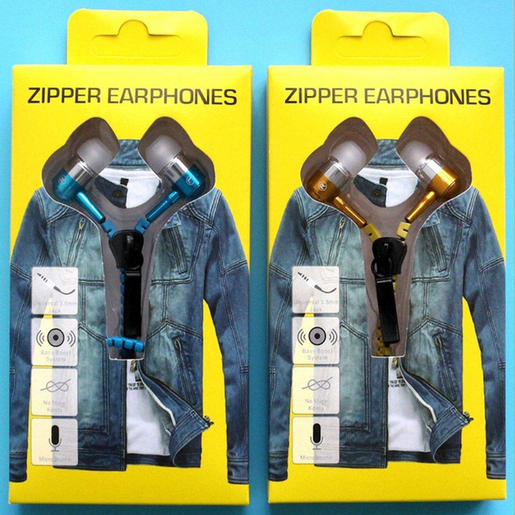 Zipper Heavy Bass Earphones With Microphone Headset