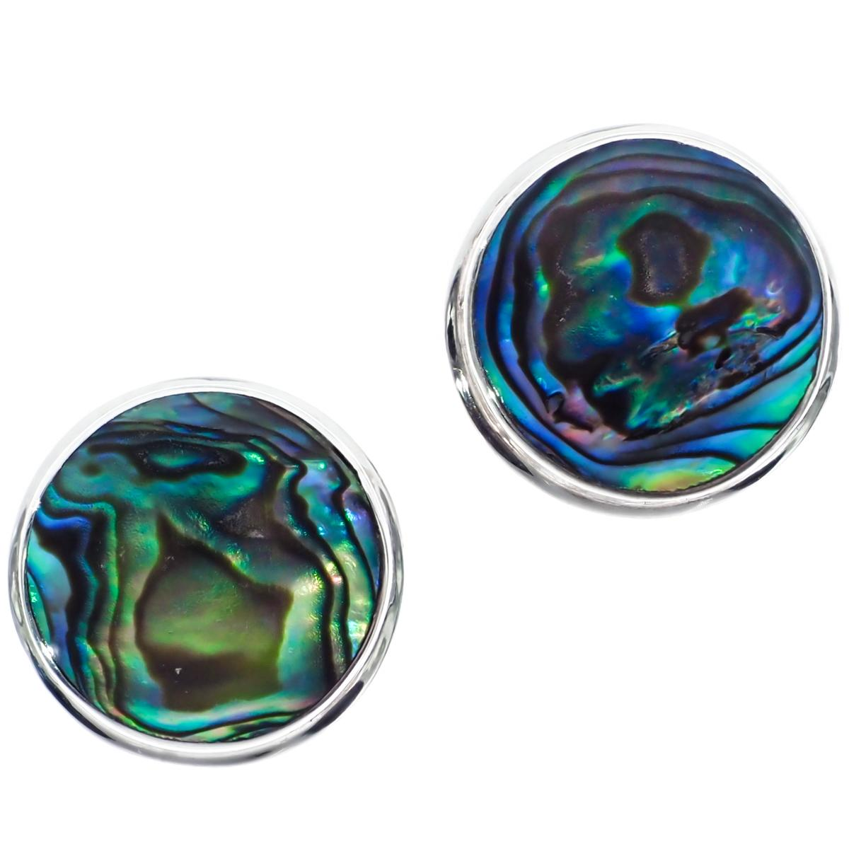 """Colorful Paua Abalone Shell 925 Sterling Silver Post Earrings, 5/8"""""""