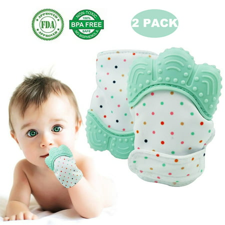 【Holiday Gifts】2 PCS Baby Teething Mitten, Self-Soothing Baby Teether & Pain Relief Baby Teething Toys, Safe Food Grade & BPA Free, Unisex for 3-12 Months Babies