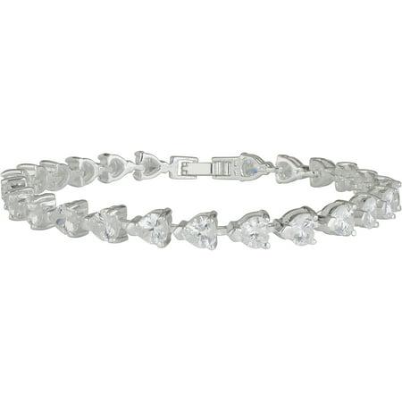 Silver Plated Heart Shaped CZ Tennis Bracelet (Heart Shaped Bracelets)