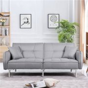 Yaheetech Convertible Sofa Couch Bed Sectional Futon Sofa Sleeper Bed with Fabric Cover Armrest Backrest
