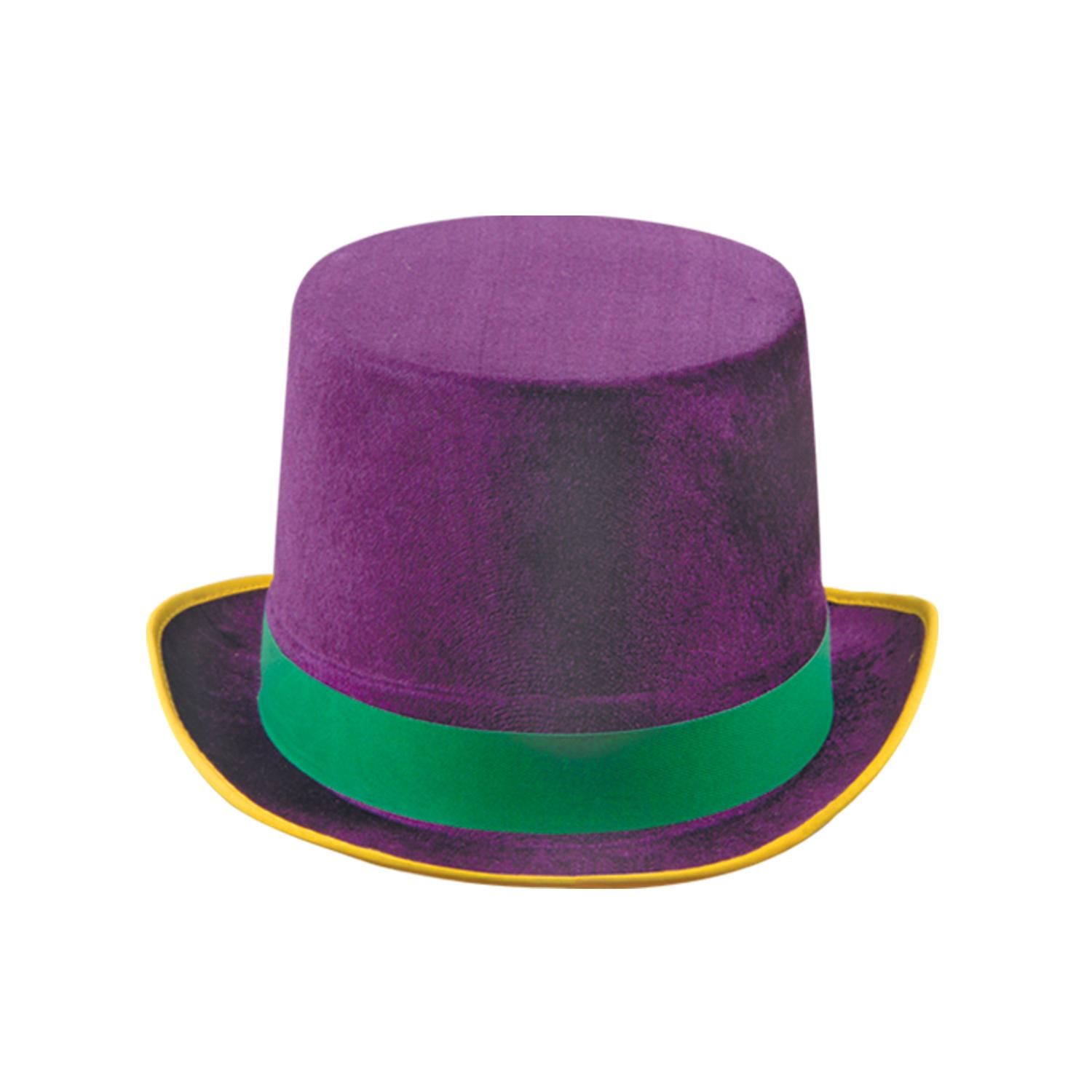 Beistle (12ct) Dura-Form Vel-Felt Top Hat gold, green, pu...