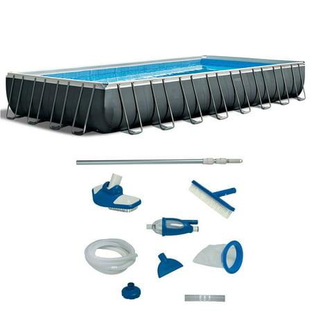 Intex 32 Foot Ultra XTR Rectangular Pool Set with Deluxe Maintenance Kit