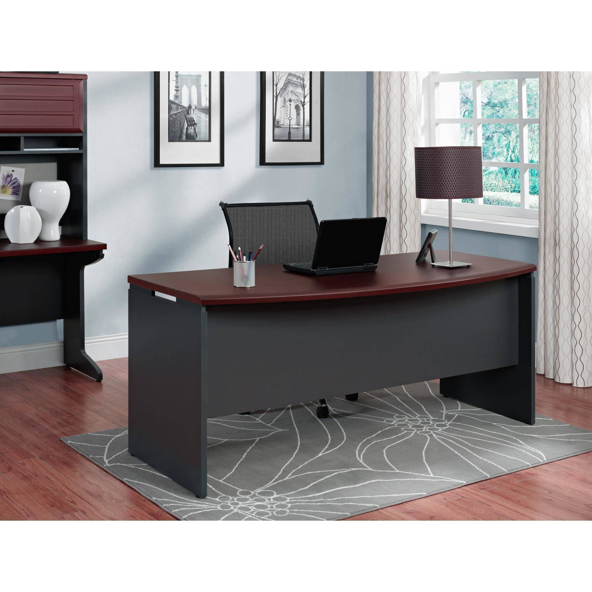 Ameriwood home pursuit executive desk cherry gray walmart com