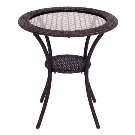 Costway Round Rattan Wicker Coffee Table Glass Top Steel Frame Patio Furni W/Lower Shelf