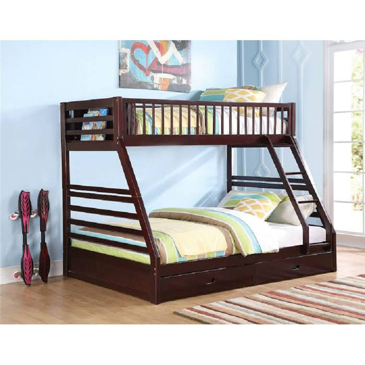 Modernluxe Twin Xl Over Queen Bunk Bed Built In Ladder And Storage Drawers Walmart Com Walmart Com
