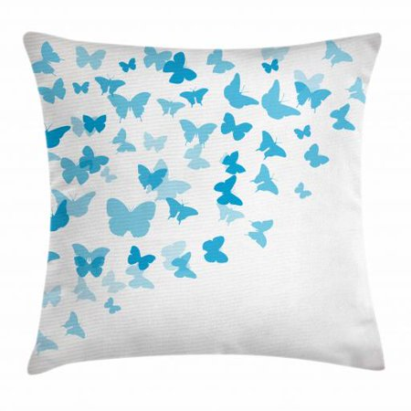 Vintage Blue Throw Pillow Cushion Cover, Diagonally Flying Flock of Butterflies Swallowtail and Birdwings, Decorative Square Accent Pillow Case, 16 X 16 Inches, Baby Blue and Azure Blue, by Ambesonne