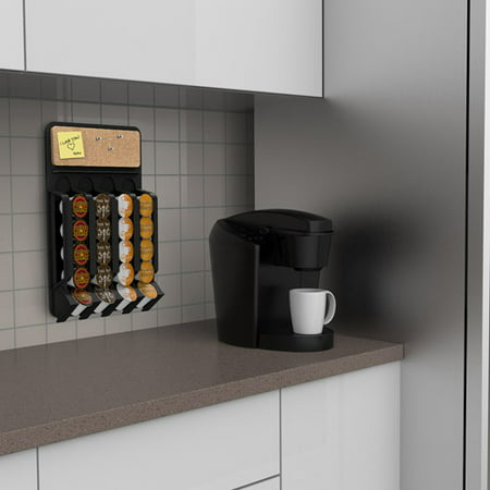 Mind Reader Fridge/Wall-Mount Coffee Pod K-Cup Dispenser with Cork Top, Black