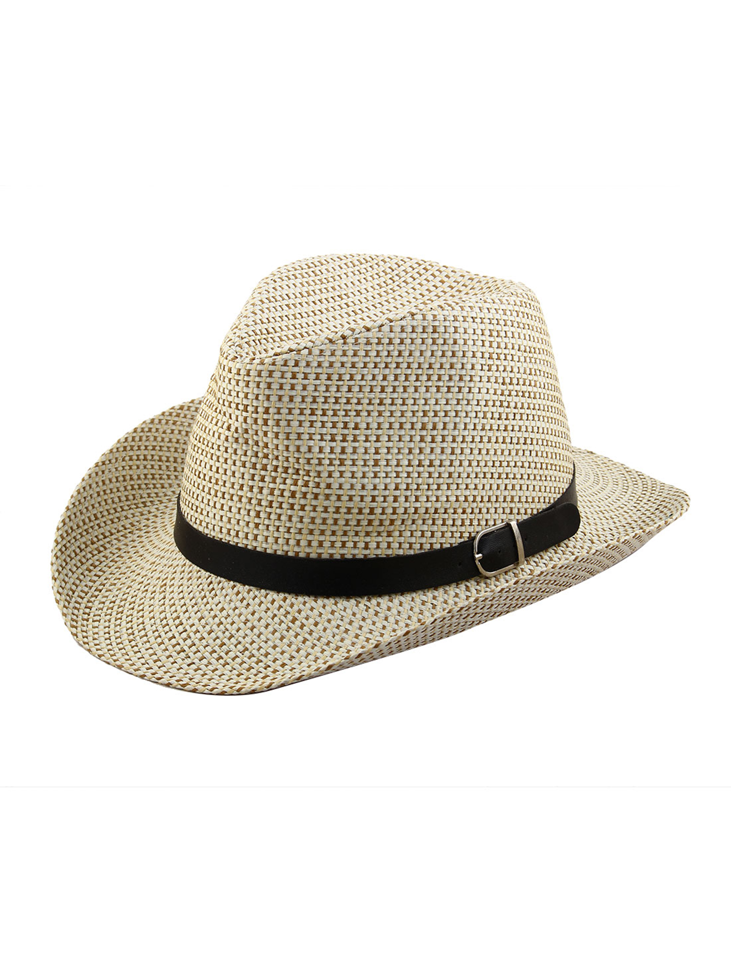 Men Summer Straw Braided Faux Leather Band Decor Western Style Sunhat Cowboy Hat