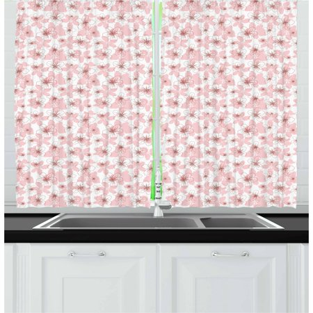 Cherry Blossom Curtains 2 Panels Set  Hand Drawn Style Little Flowers Botanical Doodle Sketch Organic Garden  Window Drapes For Living Room Bedroom  55W X 39L Inches  Rose Ruby White  By Ambesonne