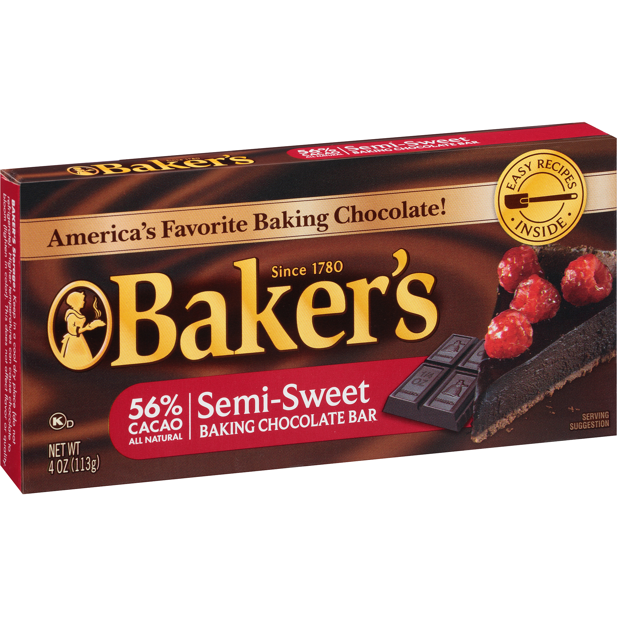Kraft Baker's Semi-Sweet Baking Chocolate Bar, 4 oz