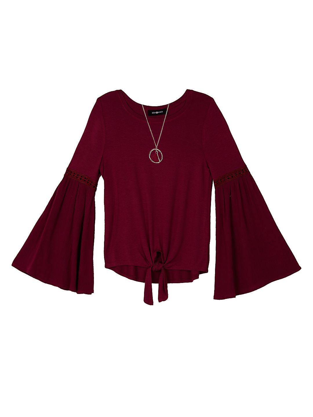 Girl's Tie-Front Bell-Sleeve Top