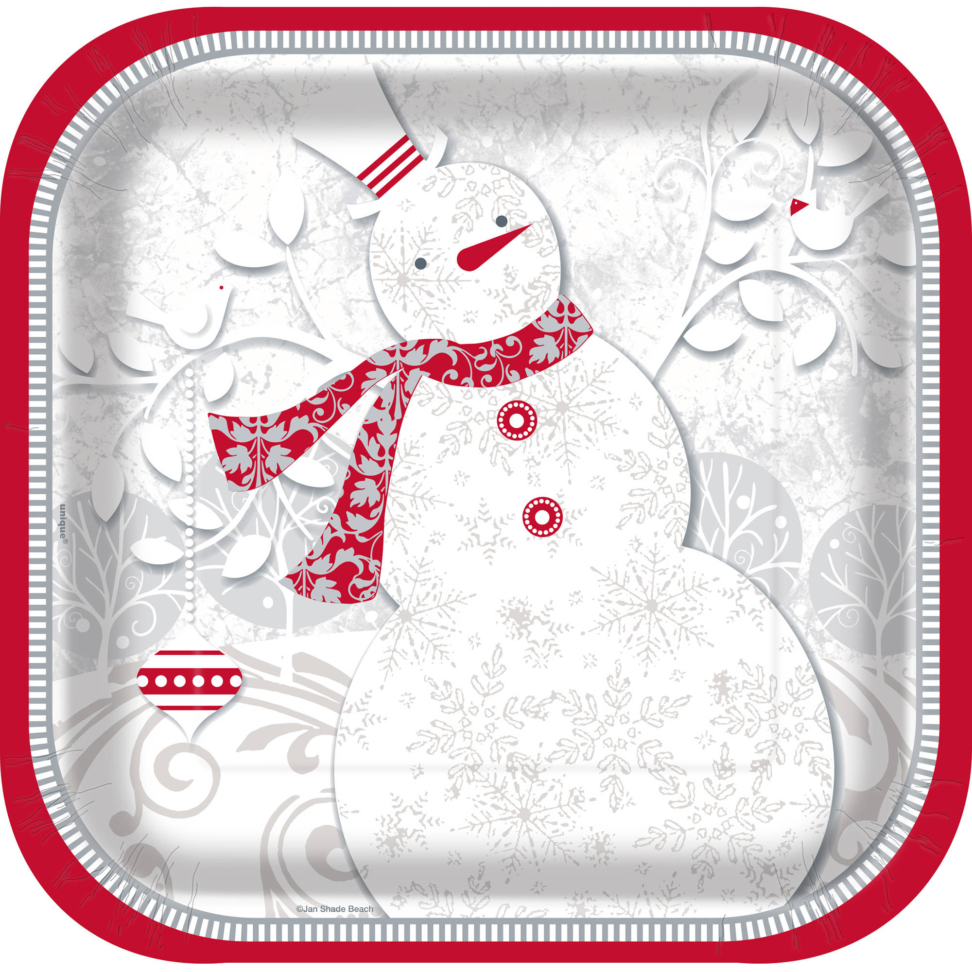"""7"""" Square Frosted Holiday Paper Dessert Plates, 28ct"""
