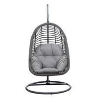 Emerald Home San Marino Sketch Gray and Heirloom Gray Outdoor Hanging Chair with All Weather Wicker, Powder Coated Steel Frame, And Spuncrylic Cushions