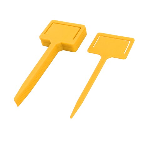 Rectangle Name Tags - Garden Plastic Rectangle Head Plant Flower Name Marking Tag Label Yellow 10pcs