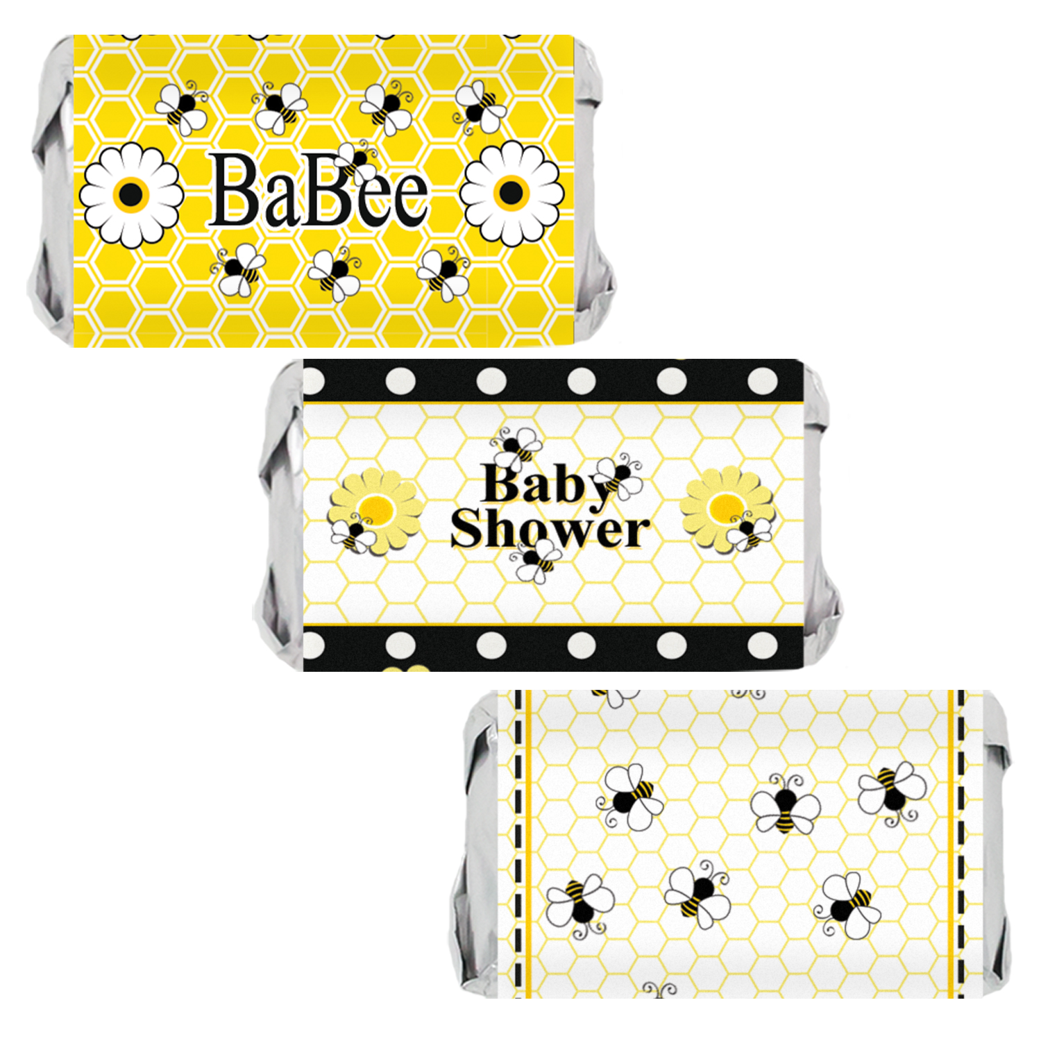 Bumble Bee Baby Shower Party Favor Stickers for Hershey's Miniatures Bars (Set of 54)