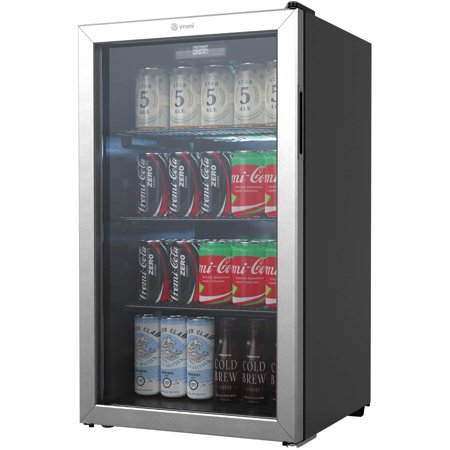 Vremi 110 to 130 Can Beverage Refrigerator and Cooler - 3.6 cu. ft, Capacity Mini Fridge with Glass Door for Soda Beer or Wine - Small Drink Dispenser Machine for Office or Bar with Removable Shelves