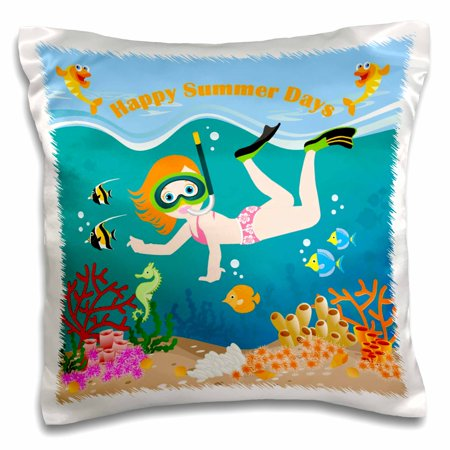 Black Girl Underwater (3dRose Girl underwater having fun scuba diving among fish and corals - Pillow Case, 16 by)