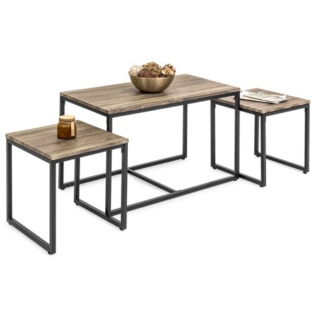 Best Choice Products 3-Piece Modern Lightweight Nesting Coffee Accent Table Living Room Furniture Lounge Set w/ 2 End Tables - Brown ()