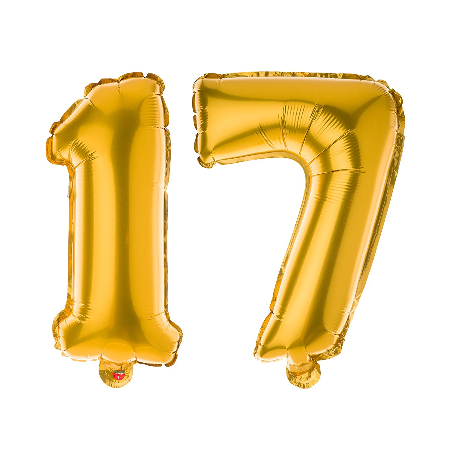 Ella Celebration 17 Number Balloons for 17th Birthday Party, 40 Inch Large Mylar Helium Foil Balloon Numbers (Gold)