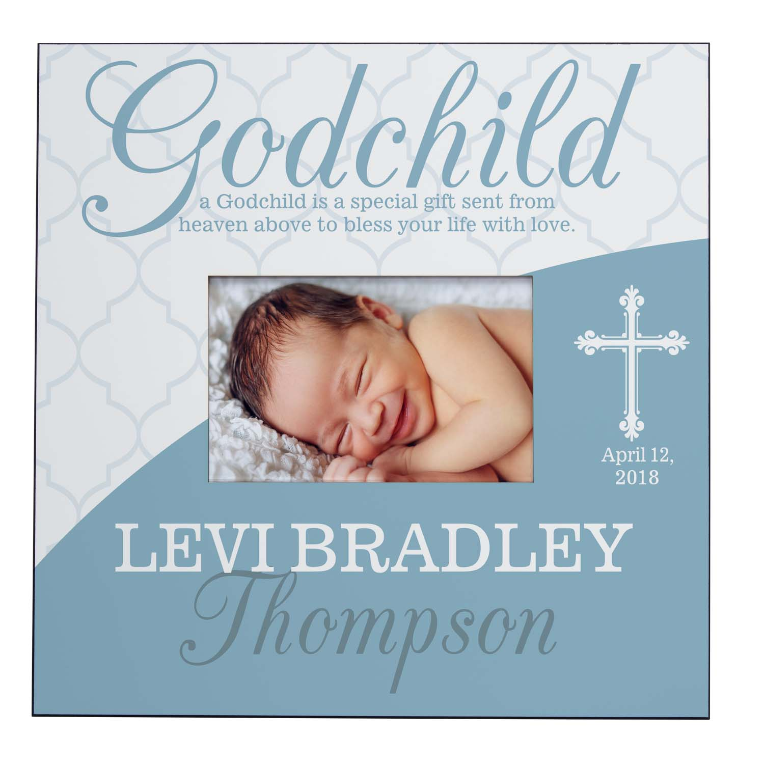 Personalized Blessings From Above Godchild Frame, Blue, Available in Blue or Pink