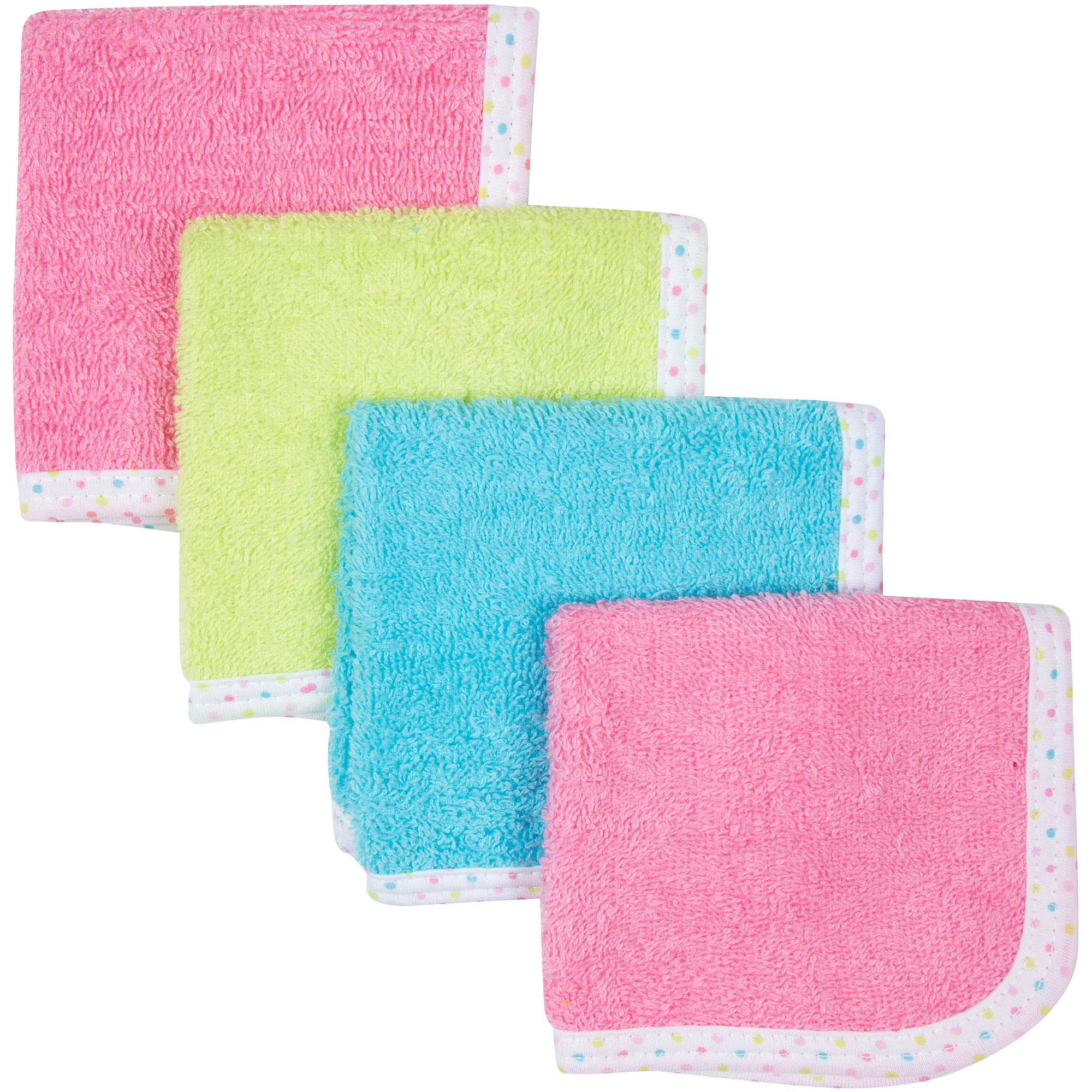 Gerber Newborn Baby Girl Woven Washcloths, 4-Pack