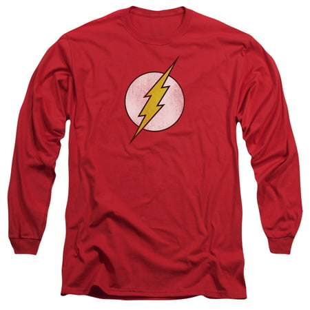 DC Comics Flash Logo Distressed Adult Long Sleeve T-Shirt Tee - Flash For Adults