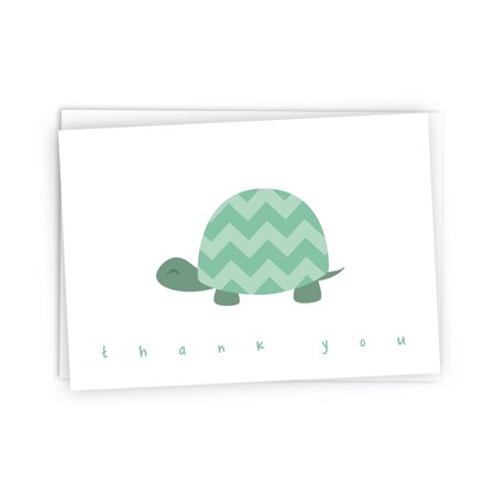 Turtle Baby Shower (Chevron Baby Thank You Note Cards - 48 Cards & Envelopes (Green)