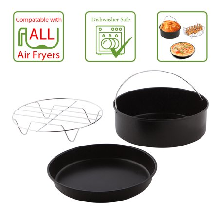 Air Fryer Cooking   Baking Accessory Pack  3 Piece Air Fryer Accessories Set   Dishwasher Safe  Includes Dish  Pan   Layered Rack