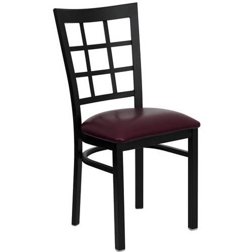 Window Back Chairs - Set of 2, Black Metal / Burgundy Vinyl Seat