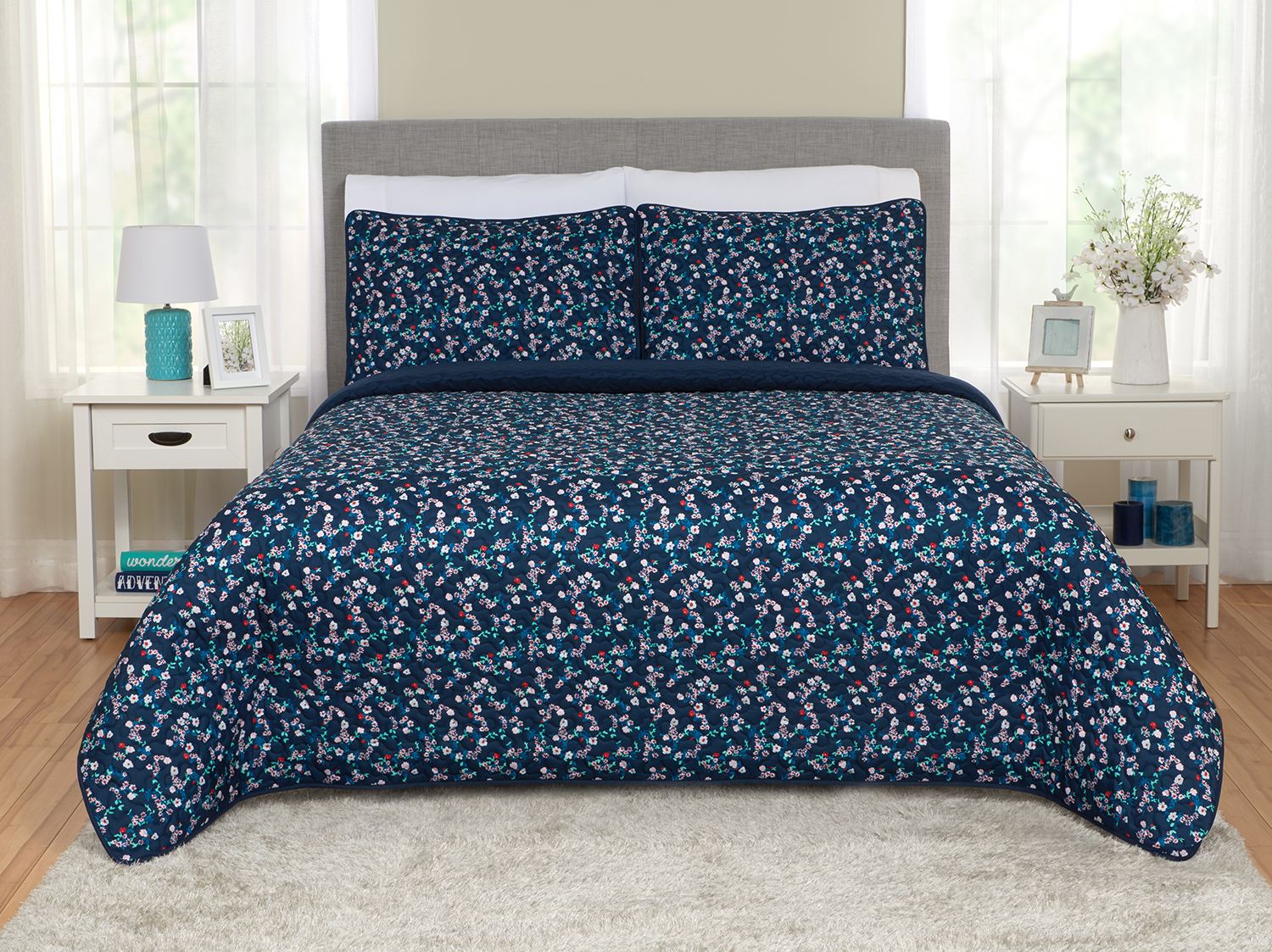 Click here to buy Better Homes and Gardens Ditsy Floral Quilt & Sham Set by Beco Industries.