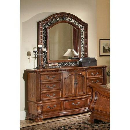 Wynwood furniture cordoba door dresser and mirror set in burnished pine for Wynwood furniture bedroom set cordoba