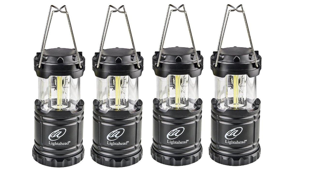 Lightahead Set of 4 Portable Outdoor LED Camping Lantern, Black, Collapsible. Great for Emergency, Tent Light, Backpacking (without Battery) by Lightahead®