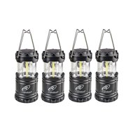 Lightahead Set of 4 Portable Outdoor LED Camping Lantern, Black, Collapsible. Great for Emergency, Tent Light, Backpacking (without Battery)