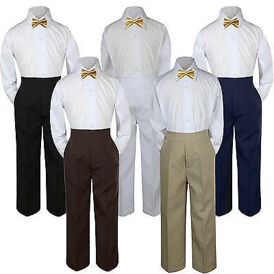 3pc Mustard Yellow Bow Tie Suit Shirt Pants Set Baby Boy Toddler Kid Uniform S-7