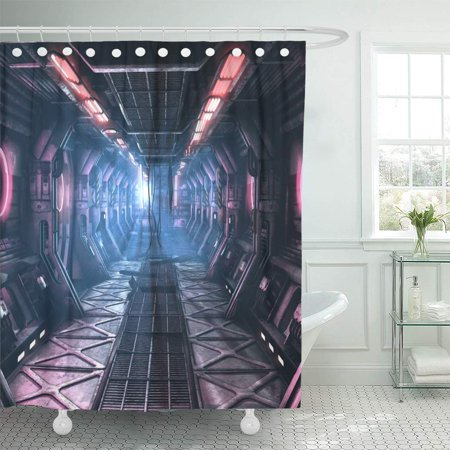 KSADK Pink Sci Fi Grunge Damaged Corridor Illuminated with Neon 3D Render Blue Floor Shower Curtain Bathroom Curtain 66x72 - Blue Illuminated Floor