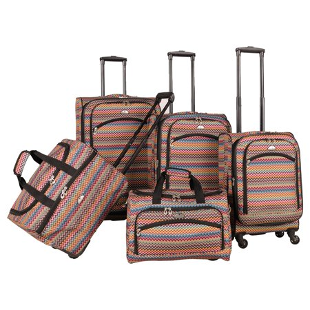 (American Flyer Gold Coast 5-Piece Spinner Luggage Set)