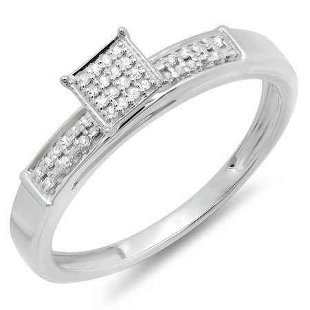 Dazzlingrock Collection 0.10 Carat (ctw) Sterling Silver Round Diamond Ladies Square Frame Micro Pave Promise Ring 1/10 CT, Size 5 Diamond Micro Pave Square
