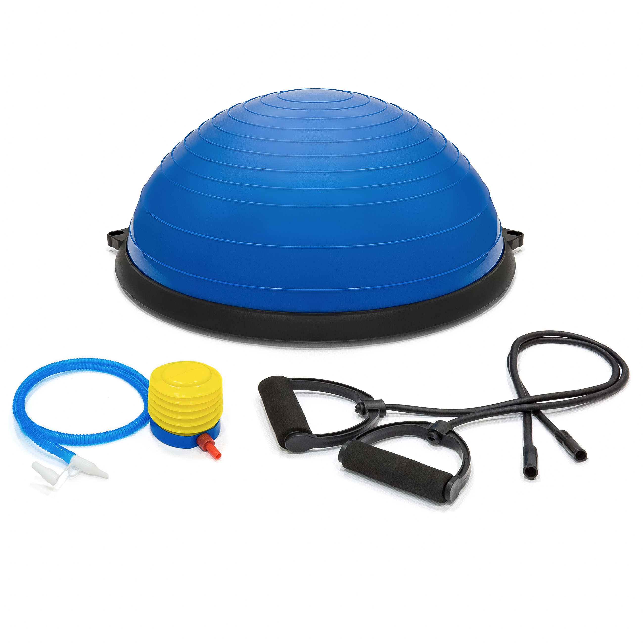 Yoga Balance Trainer Set, Exercise Ball with 2 Resistance Bands & Pump, Blue