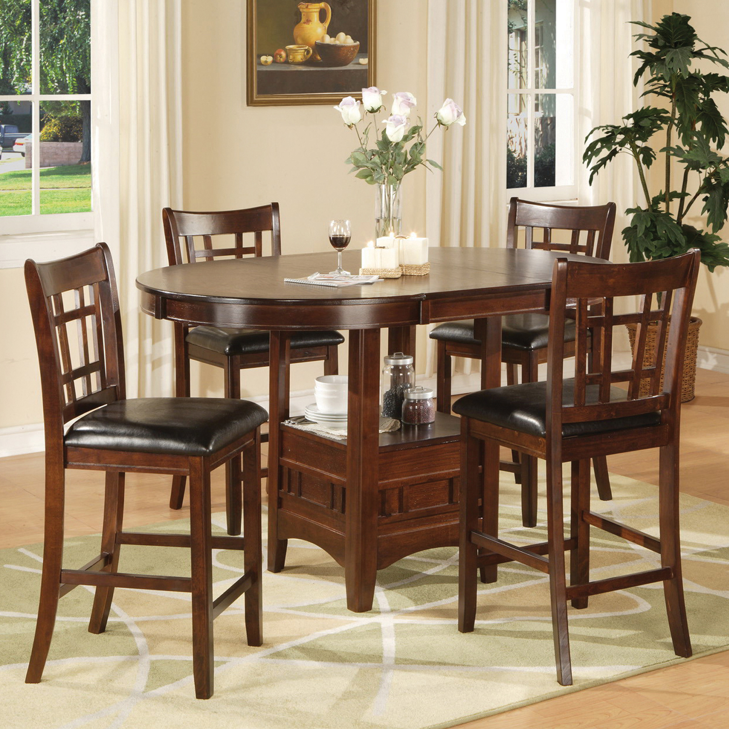 Home Source Jacksonville Counter Height Storage Pub Set